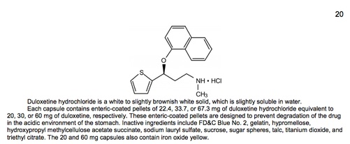 description section of a drug label