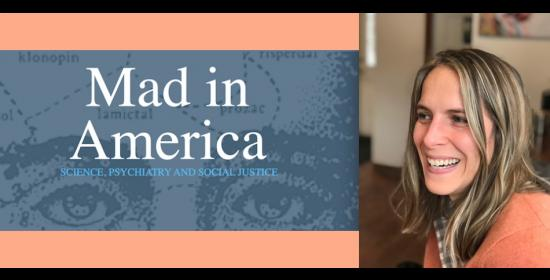 Mad in America logo and picture of Laura Delano